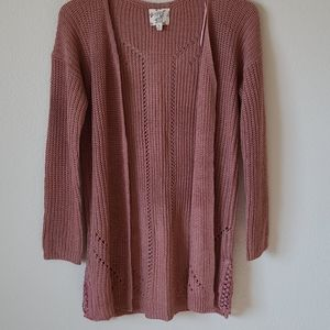 Hippie Rose Dusty Pink Open Front Cardigan S